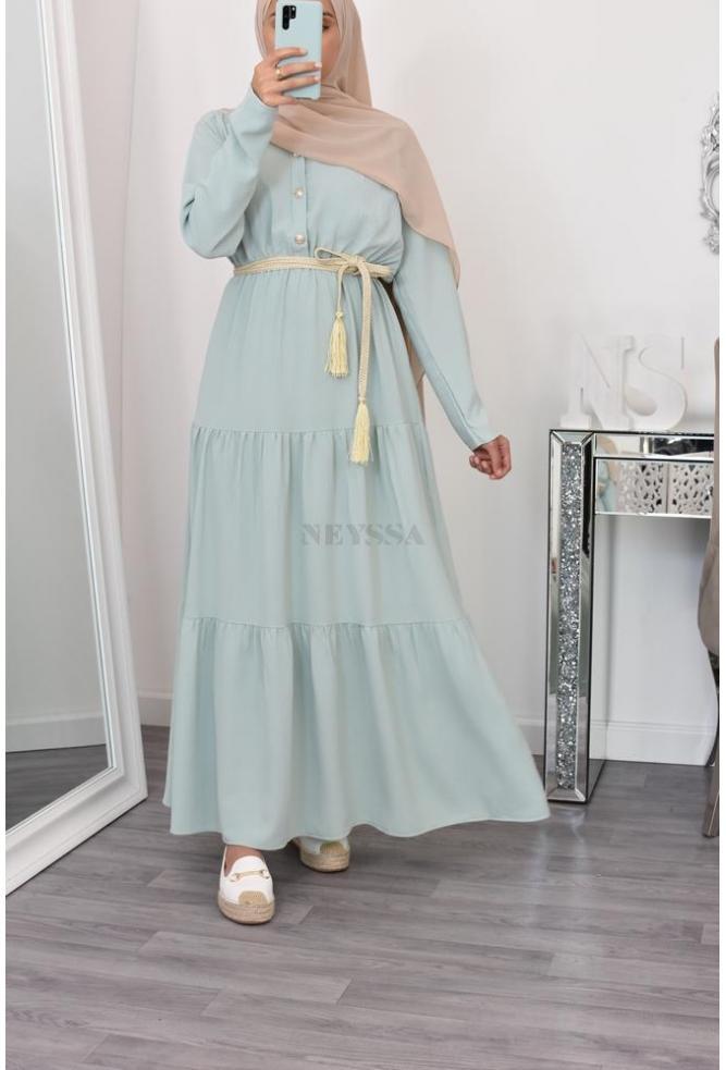 Flared long modest dress