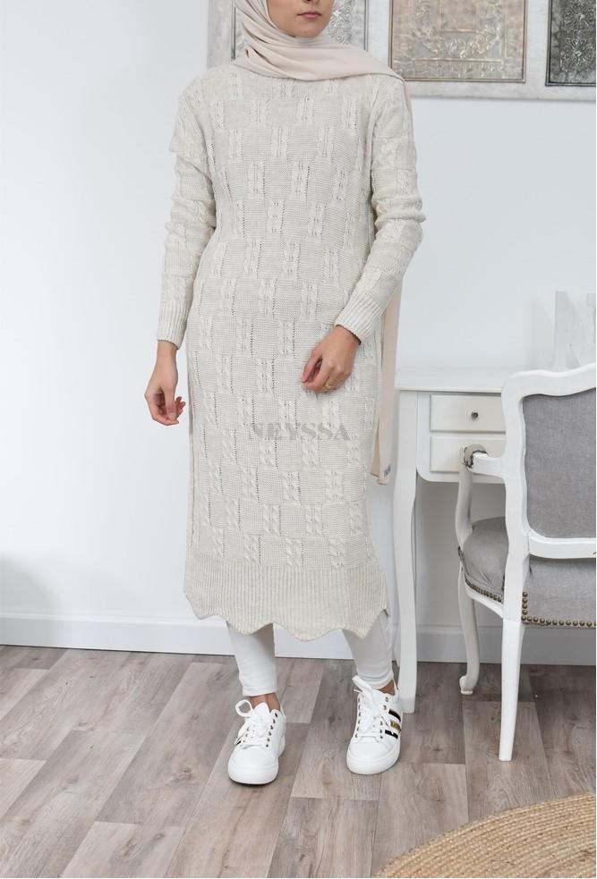 Long dress wool winter modest fashion