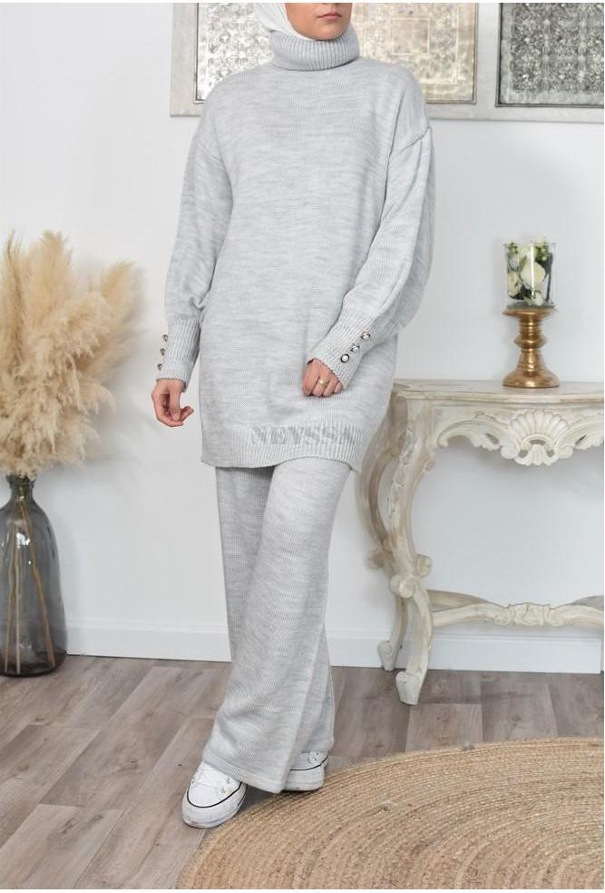 Ensemble tricot long pour femme voilée moderne