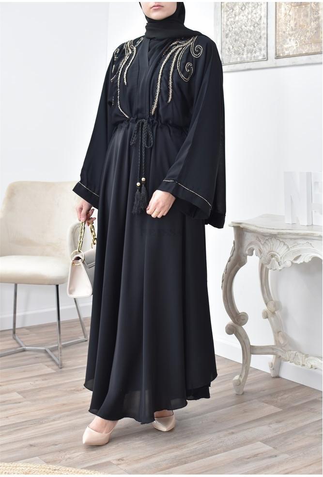 Black flared abaya umbrella Neyssa