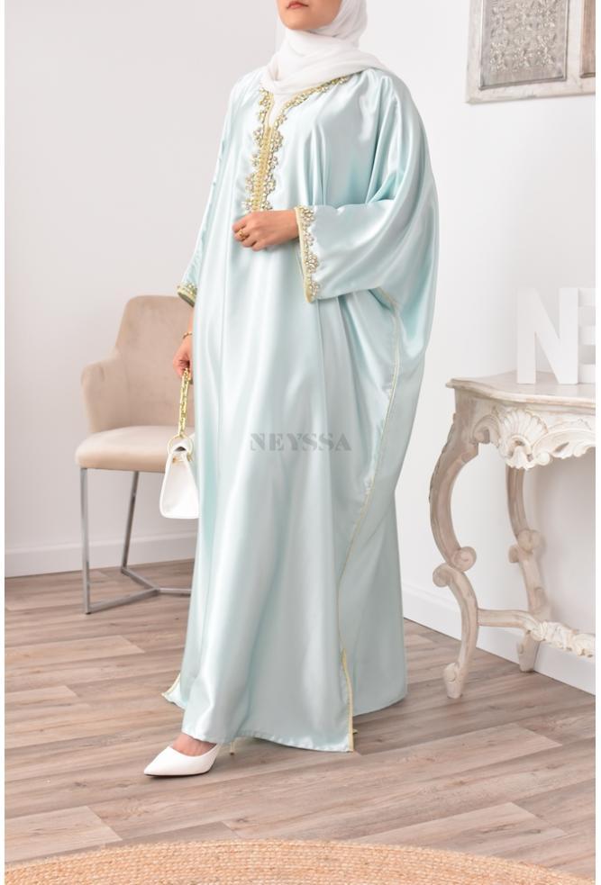 Abaya Gandoura water green perfect for veiled woman