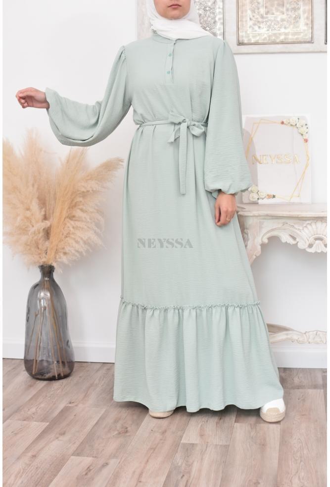 Long bohemian flared dress for veiled women spring/summer