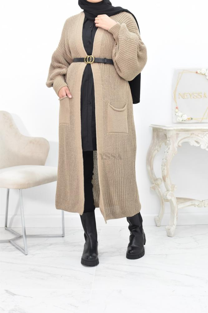 Cardigan maxi long grosse maille hiver